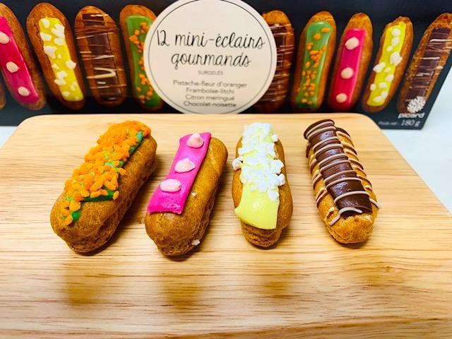 ピカール 食いしん坊のミニエクレア(ピスタチオ、フランボアーズ、チョコレート、レモンメレンゲ)