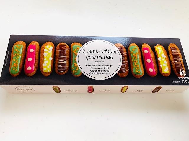 食いしん坊のミニエクレア(ピスタチオ、フランボアーズ、チョコレート、レモンメレンゲ)パッケージ