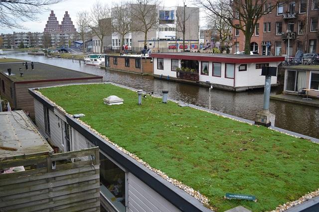 きれいに緑化されたハウスボート