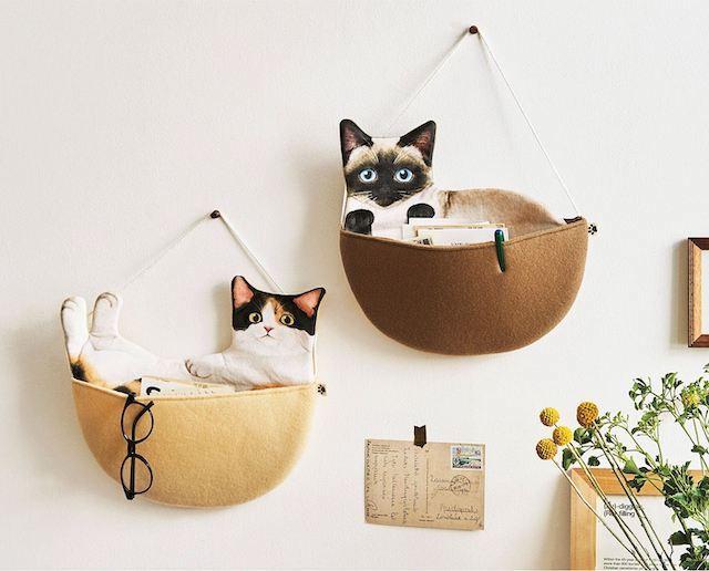 猫のウォールポケット