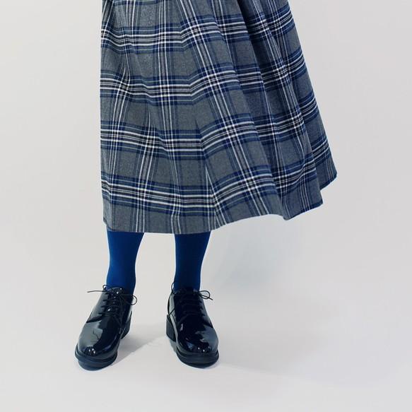 年間OK!グレー×黒×青 タータンチェック ポリレーヨン ロングスカート ●ROLLA●