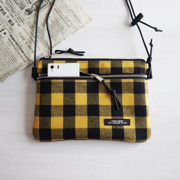BIGブロックチェック【黄色】ダブルファスナーサコッシュバッグ ミニショルダーバッグ