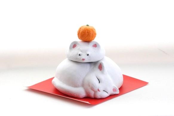 猫に鼠鏡餅 【国内送料無料】