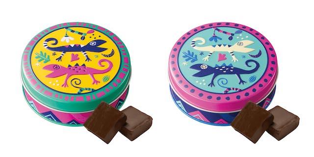 カカオの森 トカゲ缶 イエロー(左)、ブルー(右)