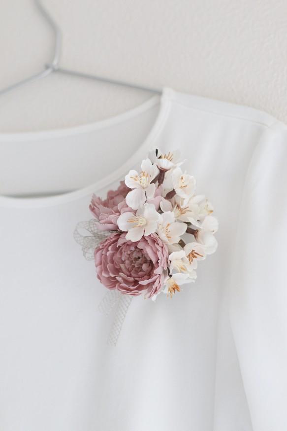 桜とラナンキュラスの大人晴れの日コサージュ ケース付き 入学式 卒業式 入園式 卒園式 結婚式