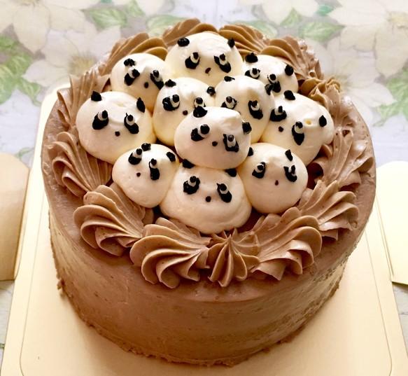 4号サイズ コーヒーバタークリームのパンダぎゅうぎゅうデコレーション