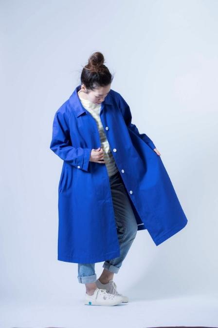 コート ブルー コットン 裏地無し、パイピング仕様 ※コート生地の色違いもあります