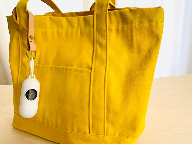 バッグにつけた携帯用ゴミ袋