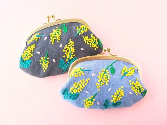 ミモザと桜の刺繍がま口 ポーチ コスメポーチ 財布