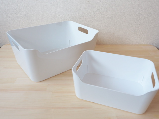 イケアIKEAの収納ボックス、VARIERA ヴァリエラの大サイズと小サイズ