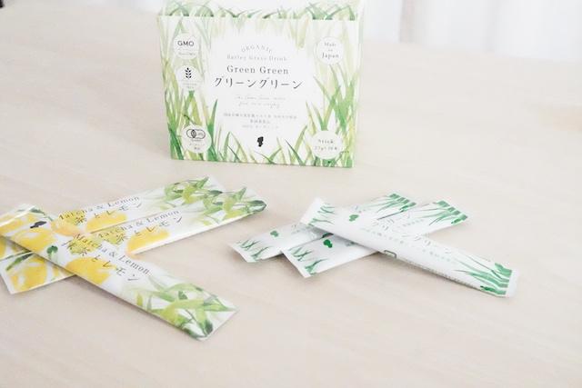 パッケージと抹茶とレモン3つグリーングリーン3つ