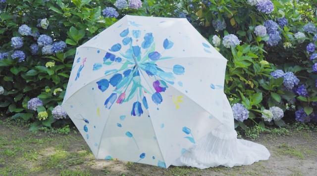 青に染まる花 ○アート晴雨兼用傘