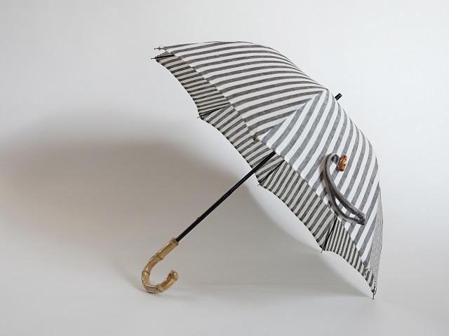 バンブー持ち手リネン日傘2段階調節<ストライプグレー>