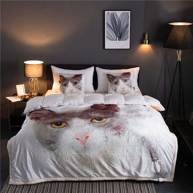 カシミヤ ねこ模様寝具