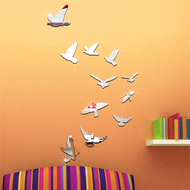 オレンジの壁に取り付けた、取り外し可能 モダンなスタイル 鳥 ミラー効果 壁画 ウォールステッカー 家の装飾