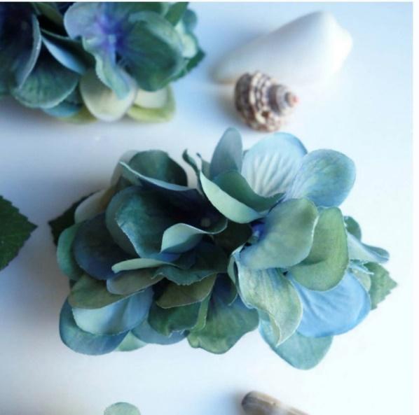 へアクリップ⭐水色紫陽花の髪飾り