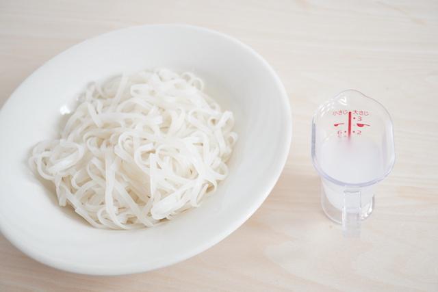 茹で汁と茹でた麺