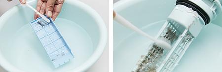 しつこい汚れを歯ブラシでとる