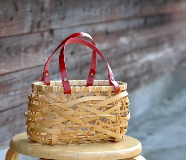 竹かごバッグ やたら編み(size:S)*取り外し可能 内袋付き