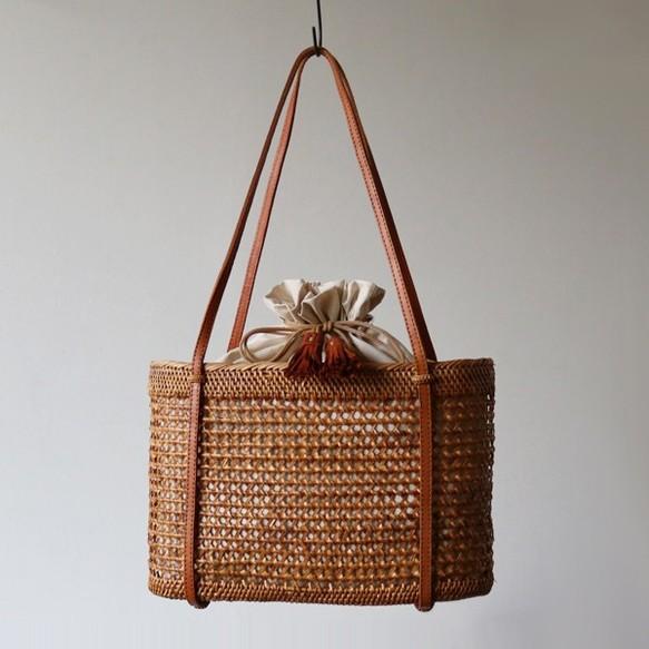 ⁂●新作●anvai「手編む鞄」アタ かご バッグ トートバッグ 肩掛け 巾着袋&タッセル 夏 着物 浴衣Z69D