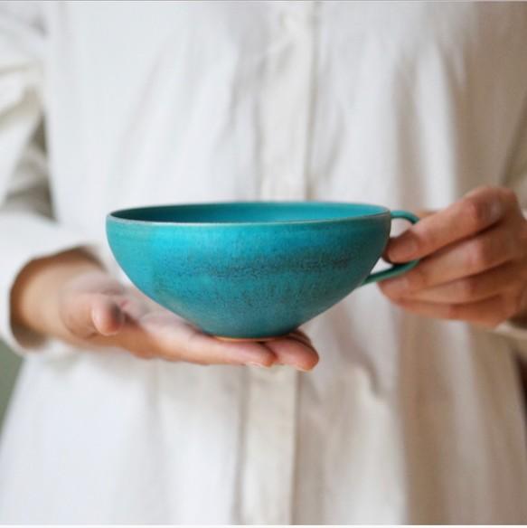スープカップ (ターコイズブルー釉)【8月頃に発送予定】