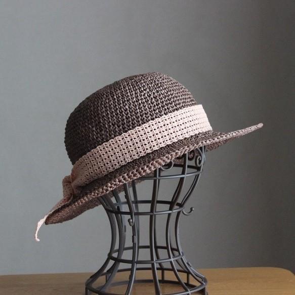 手編み*リボンを選べる麦わら帽子(セピア・55cm)