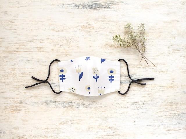 nordic flower さらっとさわやか リネンとコットンの立体マスク【受注制作】