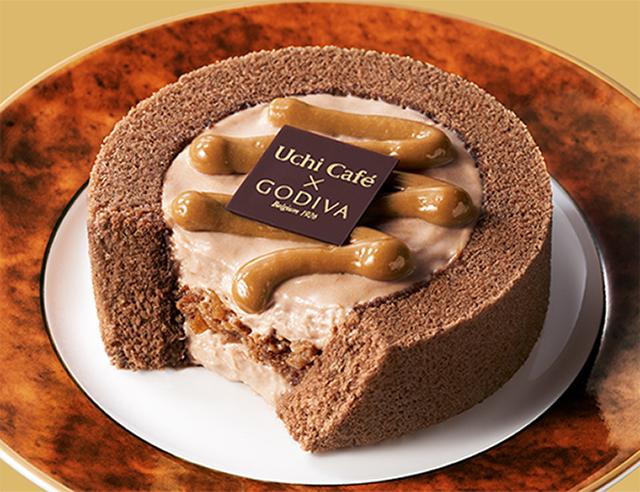 【ローソン】Uchi Café×GODIVA キャラメルショコラロールケーキ(9月15日発売)
