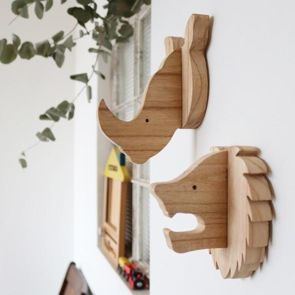 ⁂。秋PRICE。模様替PRICE木製ウッドフック2個SET「らいおん&さい」 アニマル壁掛ウォールデコ子供部屋M43B