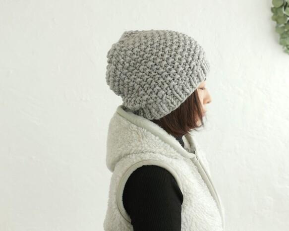 羊毛100% ふんわりニット帽 (ペールグレー)