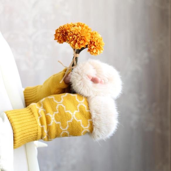 指先うっとり♡モロッコ伝統模様の指なし手袋 カラシ色