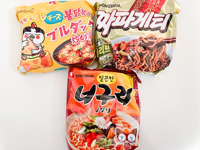ノグリ(50円) チャパゲティ(100円) チーズブルダック炒め麺(136円)