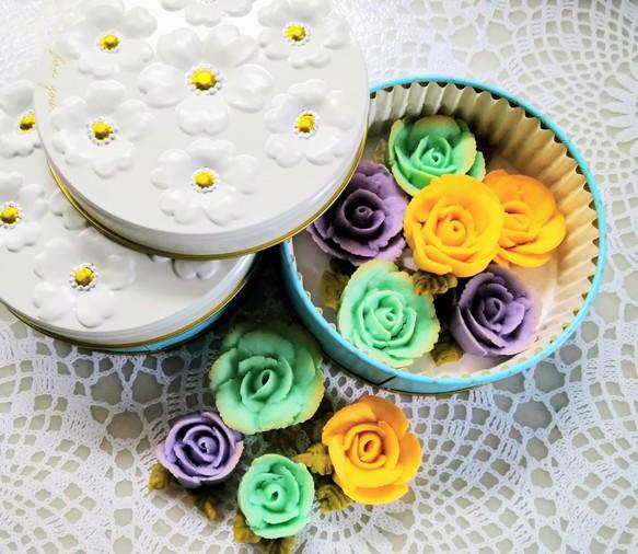 シックな色合いでも!食べられるお花!プレゼントにも。身体に優しい!あんフラワークッキー!餡子で出来た可愛いお花のクッキー