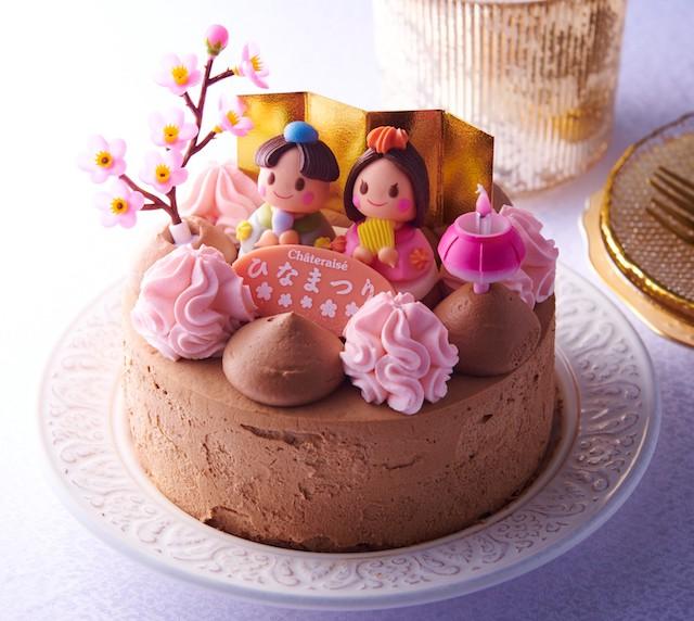 桃の節句 パリパリ食感の楽しめるチョコデコレーション