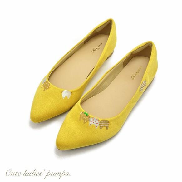 new春カラー!「 にゃんプス(yellow)」ねこ柄パンプス!イエロー*【大人可愛い+ねこ】受注制作