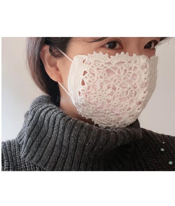 (送無•再販)不織布マスクにも✨コットン糸レース編みマスクカバー立体タイプ(自然なオフホワイト)
