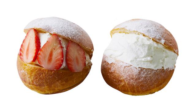 (左)マリトッツォ ストロベリー(右)マリトッツォ アプリコットジャムとフロマージュブランクリーム