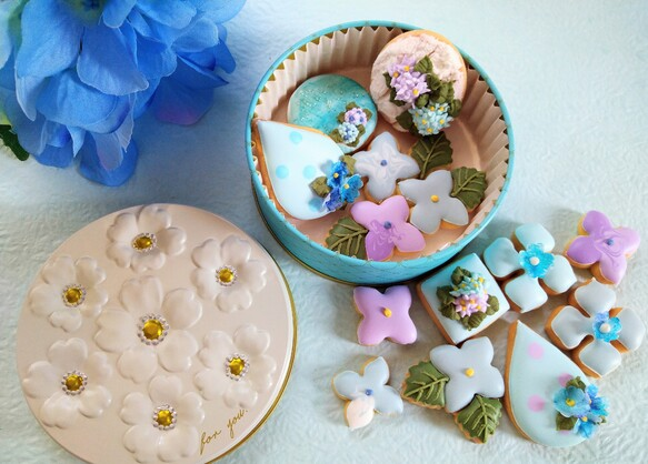 晴れやかブルー2021』紫陽花のアイシングクッキー クッキー缶 白砂糖不使用身体に優しいアイシングクッキー