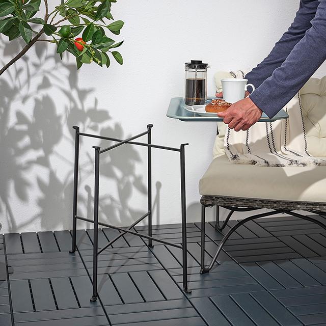 【イケア】今週のおすすめ新商品7選「照明アイテム」|5月29日 KUNGSHATT/クングスハットトレイテーブル 室内・屋外用 ダークグレー グレー 56x36cm