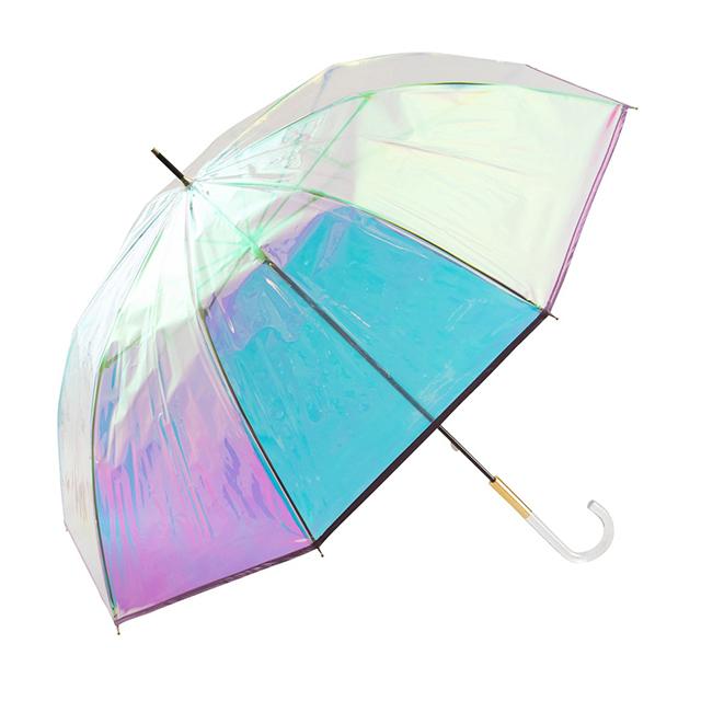 【フランフランおすすめ商品】気分が上がるレイングッズで梅雨を乗り切ろう! パイピング オーロラ ビニール傘 60cm ピンク