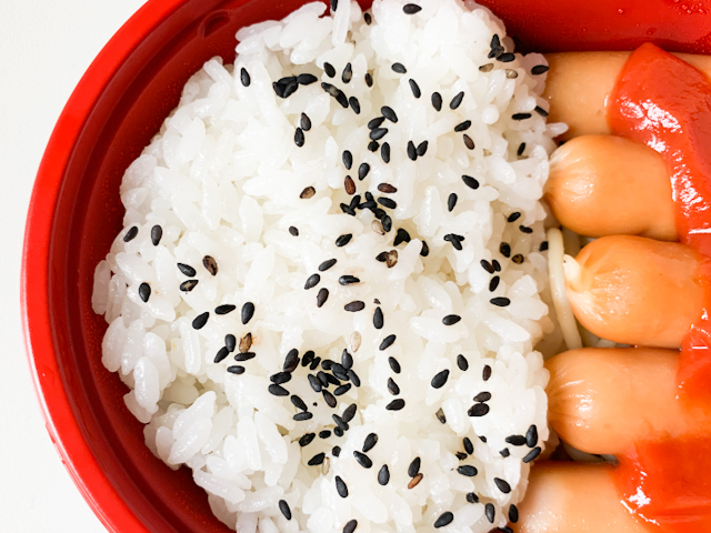 もう半分には白いご飯の上にゴマ塩がかかってます