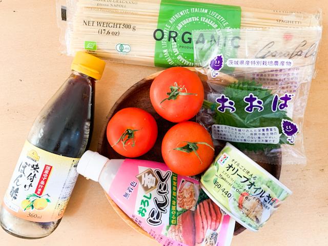 オリーブオイルさば缶とフレッシュトマトの冷製パスタの材料