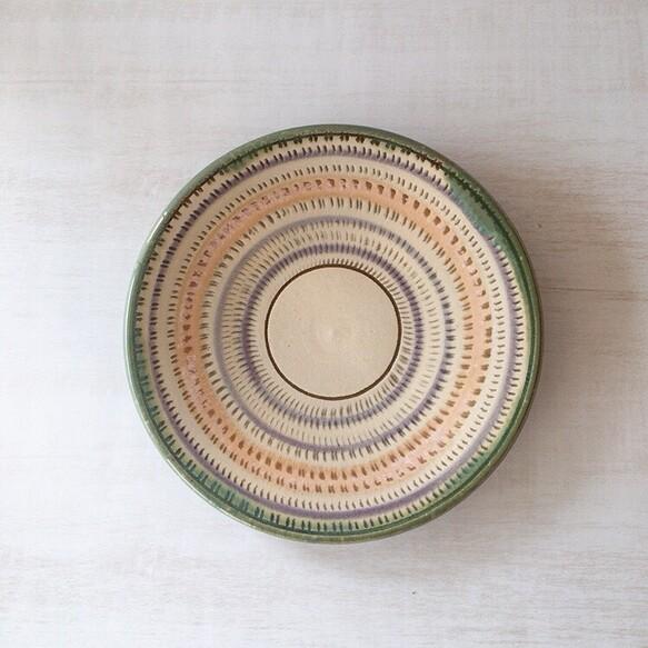 壺屋焼 飛びカンナの五寸皿