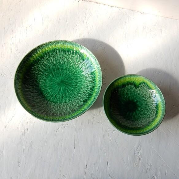 グリーンイエロー流し皿鉢