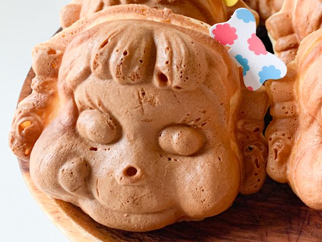 各ペコちゃん焼きの右頭上には、それぞれの中の味が書かれたリボンが