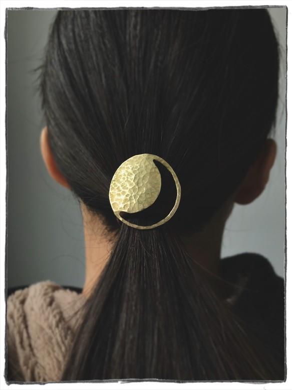 真鍮製ヘアゴム 満月と三日月