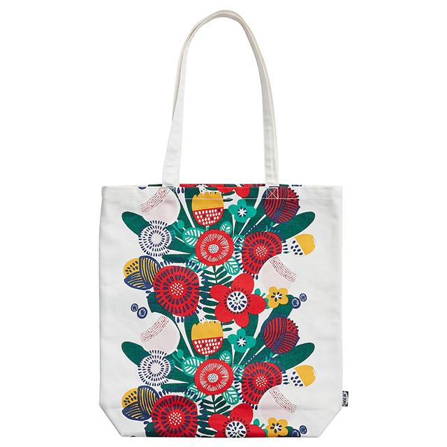 【イケアおすすめ商品】「バッグ」7選 TJEJEN/チェイェントートバッグ ホワイト マルチカラー フラワー