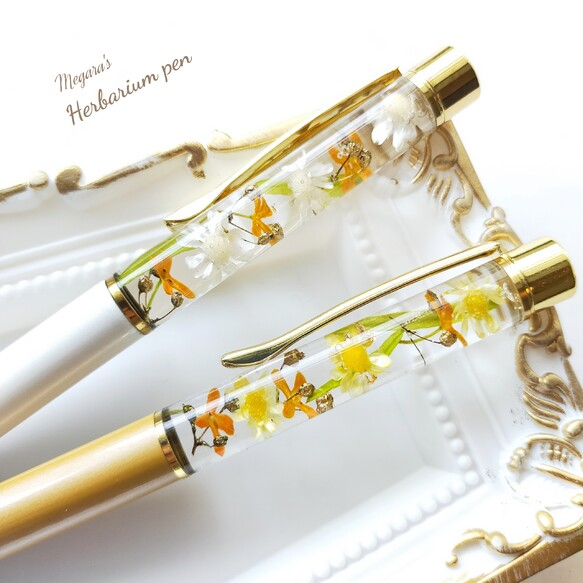 金木犀(キンモクセイ)のハーバリウムボールペン